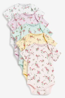 Ditsy Floral 5 Pack Short Sleeve Bodysuits (0mths-3yrs)