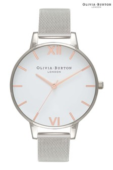 Olivia Burton White Dial 38mm Mesh Watch