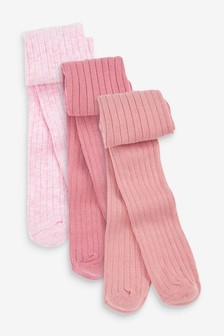 Pink 3 Pack Ribbed Tights (0mths-2yrs)