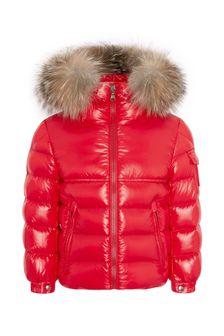 Boys Red Shiny Down Padded New Byron Jacket