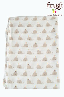 Frugi GOTS Organic Large Muslin Swaddle In Whale Print
