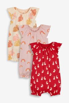 Rust 3 Pack Bunny Rompers (0mths-3yrs)