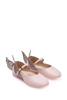 Girls Pink Leather & Glitter Evangeline Shoes