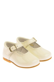 Girls Ivory Patent Scalloped Edge Mary Jane Shoes