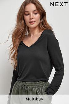 Black Slouch V-Neck Long Sleeve T-Shirt