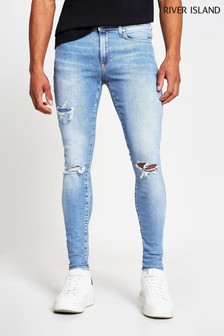 River Island Blue Spray On Drummer Ripped Jeans