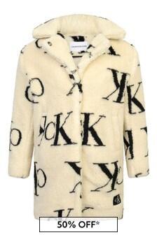 Girls Ivory Logo Teddy Coat
