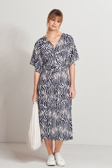Navy Zebra Belted Dress