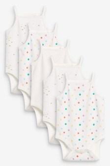 Pink Mini Print 5 Pack Vest Bodysuit (0mths-3yrs)