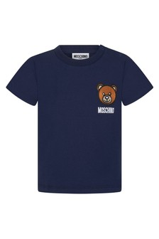 Moschino Kids Baby Boys Navy Cotton Unisex T-Shirt