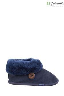 Cotswold Blue Wotton Sheepskin Bootie Slippers