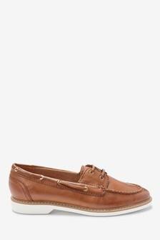 Tan Leather EVA Boat Shoes