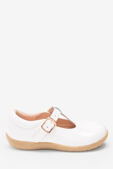Ivory Leather Standard Fit (F) Little Luxe™ T-Bar Shoes (Younger)