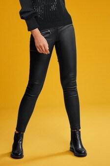 Black Coated Denim Biker Skinny Jeans