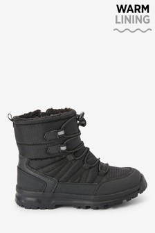 Black Water Resistant Warm Lined Snow Boots (Older)