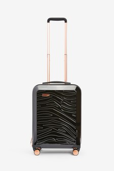 Black Small Zebra Embossed Hard Shell Suitcase