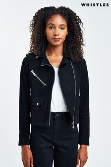 Whistles Black Suede Agnes Leather Jacket