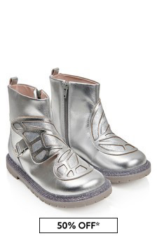 Girls Silver Leather Karina Boots