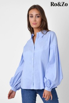 Ro&Zo Blue Cotton Poplin Shirt
