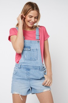 Bleach Raw Hem Dungaree Shorts
