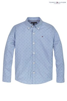 Tommy Hilfiger Blue Stripe Clipping Print Shirt