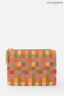 Accessorize Red Beaded Check Pouch Bag
