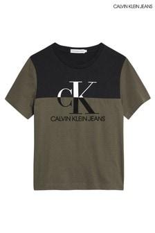 Calvin Klein Green Monogram Colourblock T-Shirt