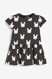 Charcoal Bunny Jersey Dress (3mths-7yrs)