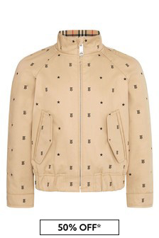Boys Beige Cotton Jacket