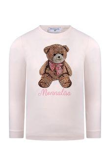 Girls Pink Cotton Diamanté Bear T-Shirt