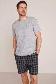 Grey/Black Check Woven Pyjama Set