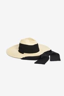 Cream Black Tie Hat