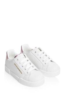 حذاء رياضي جلد بناتي أبيض ووردي