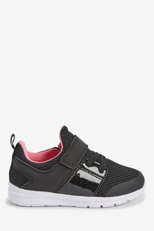 Black Elastic Lace Sports Trainers (Younger)