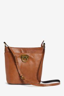 Tan Leather Lock Detail Bucket Bag