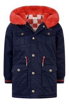 Girls Navy Garbardine Parka