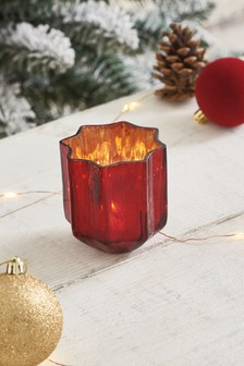 Red Glass Star Tealight Holder
