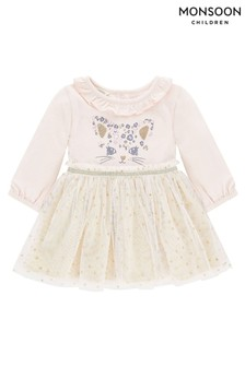 Monsoon Baby Pink Cat Disco Dress