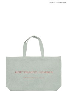 French Connection Green Reverse Cotton Shopper Bag