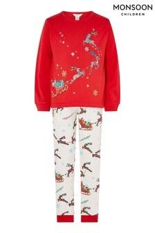 Monsoon Red Xmas Sleigh Jersey Pyjama Set