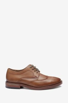 Leather Lace-Up Wing Cap Shoes