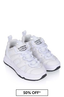 Kids White Mesh & Nubuck Union Trainers