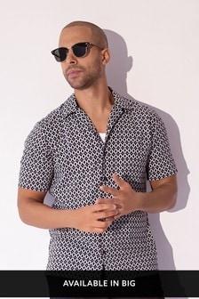 Black Geo Piping Slim Fit Print Short Sleeve Shirt