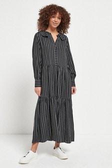 White/Grey Stripe Maxi Shirt Dress
