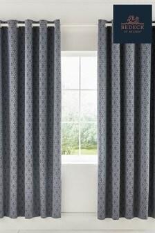 Bedeck of Belfast Cadenza Geo Cotton Lined Eyelet Curtains