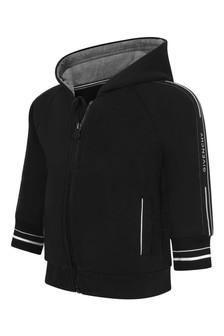 Baby Boys Black Logo Trim Zip-Up Top