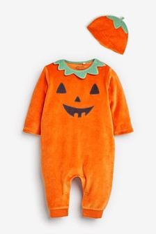 Orange Halloween Pumpkin Velour Footless Sleepsuit And Hat (0mths-3yrs)