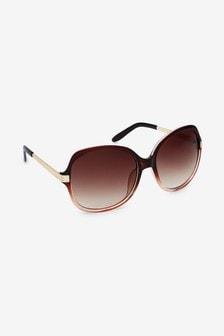 Mocha Oversized Round Sunglasses