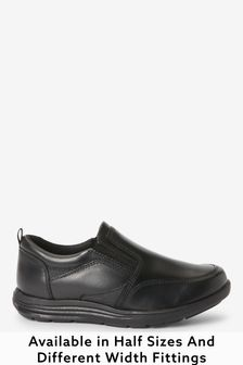 Black Extra wide (H) Leather Loafers
