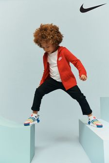 Nike Little Kids Red Fleece Zip Through Hoody